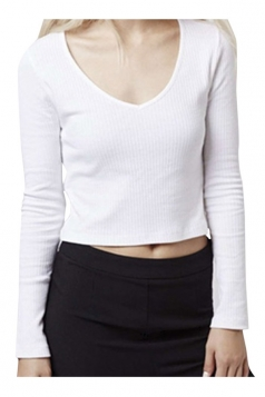 Womens V Neck Long Sleeve Plain Crop Pullover Sweater White