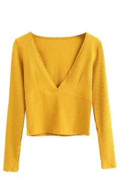 Womens Deep V Neck Plain Long Sleeve Short Sweater Yellow