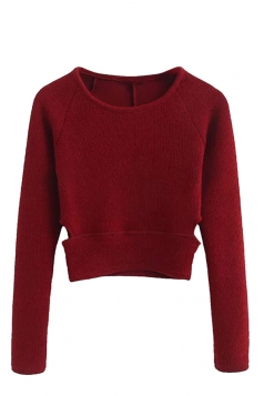Womens Cut Out Tunic Short Plain Pullover Sweater Ruby