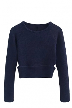 Womens Cut Out Tunic Short Plain Pullover Sweater Navy Blue