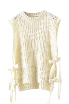 Womens Side Lace-up Plain Sleeveless Pullover Sweater Beige White