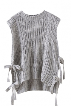 Womens Side Lace-up Plain Sleeveless Pullover Sweater Gray