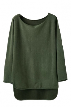Womens Loose High Low Long Sleeve Pullover Sweater Army Green
