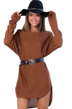 Womens Loose High Low Long Sleeve Pullover Sweater Camel