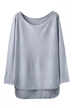 Womens Loose High Low Long Sleeve Pullover Sweater Gray