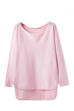 Womens Loose High Low Long Sleeve Pullover Sweater Pink