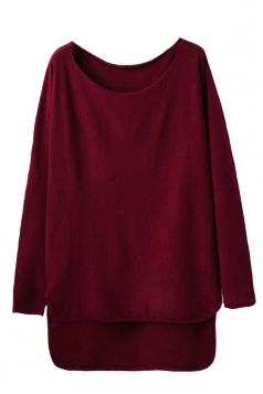 Womens Loose High Low Long Sleeve Pullover Sweater Ruby