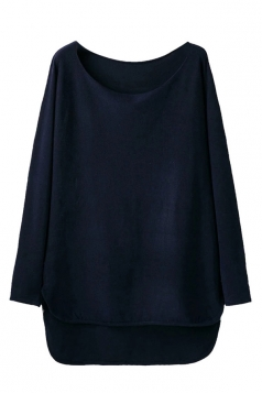 Womens Loose High Low Long Sleeve Pullover Sweater Navy Blue