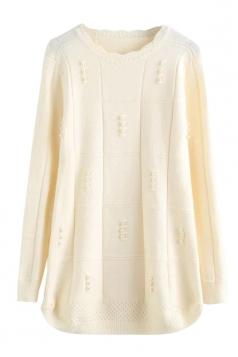 Womens Scalloped Neckline Beaded Pullover Sweater Beige