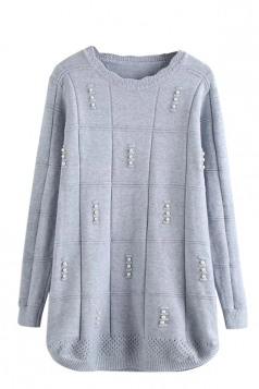 Womens Scalloped Neckline Beaded Pullover Sweater Light Blue