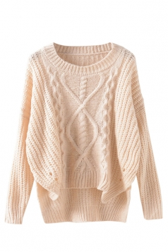 Womens Cable Knit High Low Plain Pullover Sweater Beige