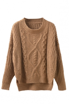 Womens Cable Knit High Low Plain Pullover Sweater Coffee