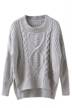 Womens Cable Knit High Low Plain Pullover Sweater Gray
