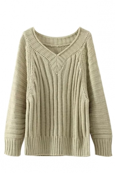 Womens V Neck Cable Knit Long Sleeve Pu lover Sweater Khaki