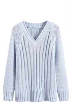 Womens V Neck Cable Knit Long Sleeve Pu lover Sweater Light Blue