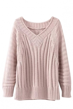 Womens V Neck Cable Knit Long Sleeve Pullover Sweater Pink