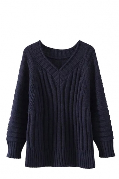 Womens V Neck Cable Knit Long Sleeve Pu lover Sweater Navy Blue