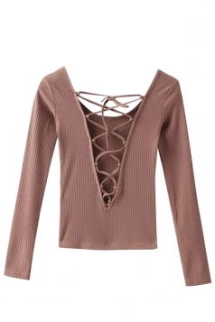 Womens Lace-up Plunging Neck Long Sleeve Pullover Sweater Khaki