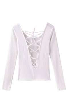 Womens Lace-up Plunging Neck Long Sleeve Pullover Sweater White