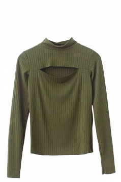 Womens High-necked Cut-out Front Plain Sweater Army Green