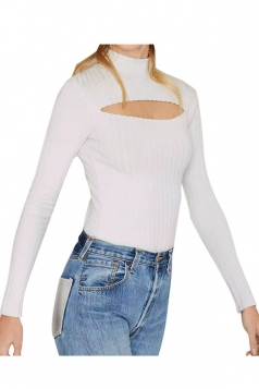 Womens High-necked Cut-out Front Plain Sweater White