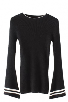 Womens Striped Flare Sleeve Pullover Sweater Black