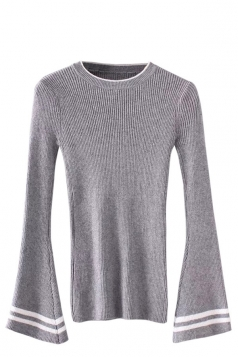 Womens Striped Flare Sleeve Pullover Sweater Gray