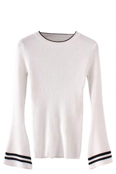 Womens Striped Flare Sleeve Pullover Sweater White