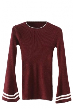 Womens Striped Flare Sleeve Pullover Sweater Ruby