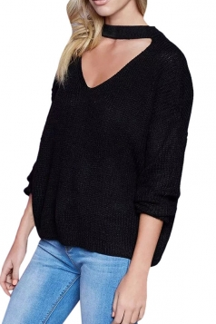 Womens Plain V Neck Pullover Crochet Sweater Black