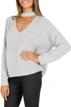 Womens Plain V Neck Pullover Crochet Sweater Gary