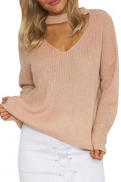 Womens Plain V Neck Pullover Crochet Sweater Khaki