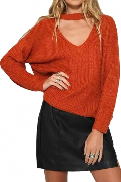 Womens Plain V Neck Pullover Crochet Sweater Tangerine