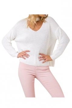 Womens Plain V Neck Pullover Crochet Sweater White