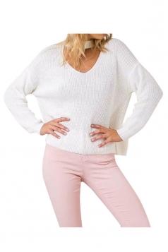 Womens Plain V Neck Pullover Crochet Sweater White