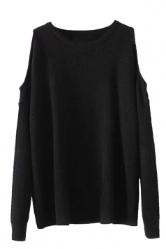 Womens Cold Shoulder Loose Plain Pullover Sweater Black