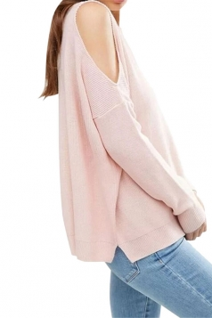 Womens Cold Shoulder Loose Plain Pullover Sweater Pink
