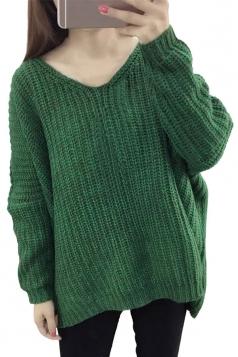Womens V Neck Crochet Plain Long Sleeve Pullover Sweater Green