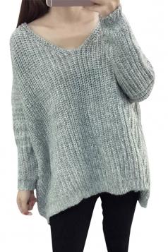 Womens V Neck Crochet Plain Long Sleeve Pullover Sweater Gray