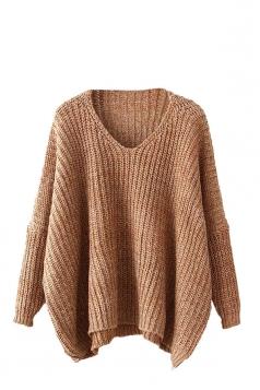 Womens V Neck Crochet Plain Long Sleeve Pullover Sweater Khaki