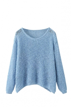 Womens Crewneck Hollow Out Plain Pullover Sweater Blue