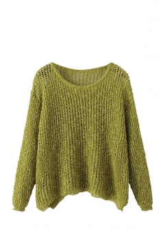 Womens Crewneck Hollow Out Plain Pullover Sweater Green