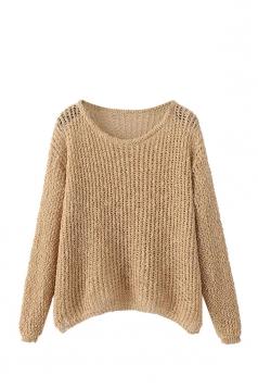 Womens Crewneck Hollow Out Plain Pullover Sweater Khaki