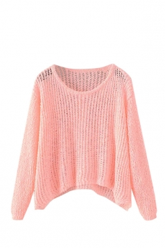 Womens Crewneck Hollow Out Plain Pullover Sweater Pink