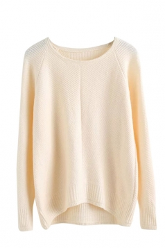 Womens Plain Arced Hem Long Sleeve Pullover Sweater Beige