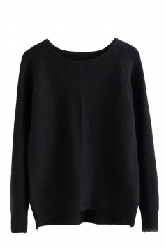 Womens Plain Arced Hem Long Sleeve Pullover Sweater Black