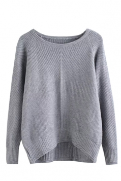 Womens Plain Arced Hem Long Sleeve Pullover Sweater Gray
