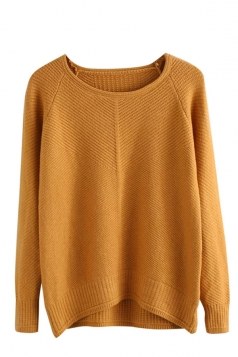 Womens Plain Arced Hem Long Sleeve Pullover Sweater Yellow