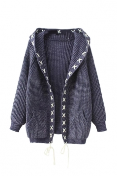 Womens Cross Lace-up Hooded Long Sleeve Cardigan Sweater Blue