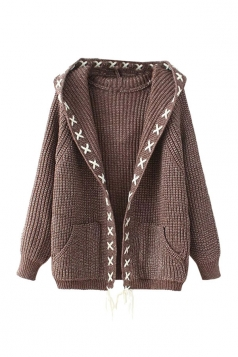 Womens Cross Lace-up Hooded Long Sleeve Cardigan Sweater Coffee